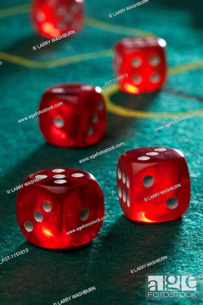 Stock Photo: Dice on a craps table.