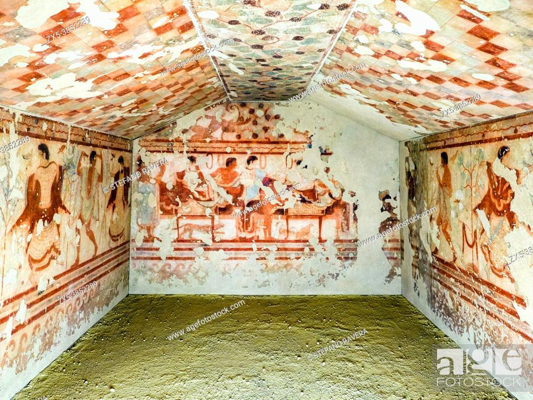 Stock Photo: Fresco painted walls in Tomba del Triclinio (. Tomb of the Triclinium) 5th century BC - Tarquinia National Archaeological Museum, Italy.