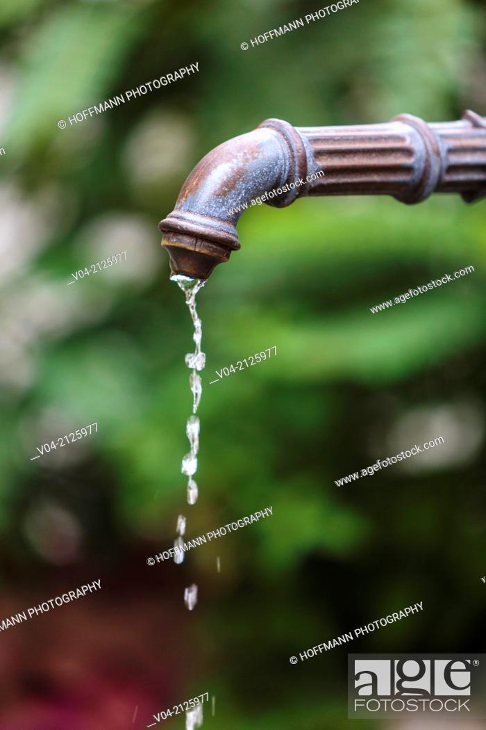 Stock Photo: Detail of a fountain, Lindau, Bavaria, Germany, Europe.