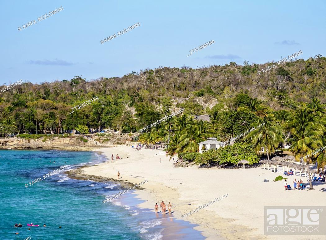 Stock Photo: Playa Esmeralda, elevated view, Holguin Province, Cuba.