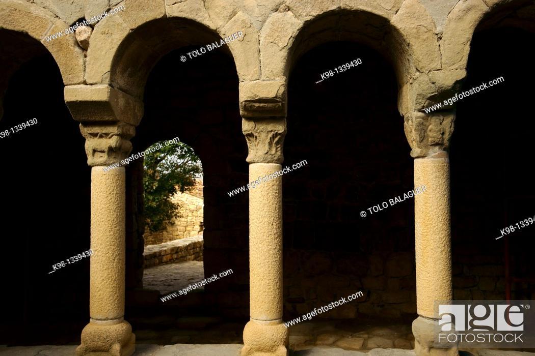 Stock Photo: Romanesque chapel of Mur Montsec d'Ares Lleida Pyrenees Mountains Catalonia Spain.