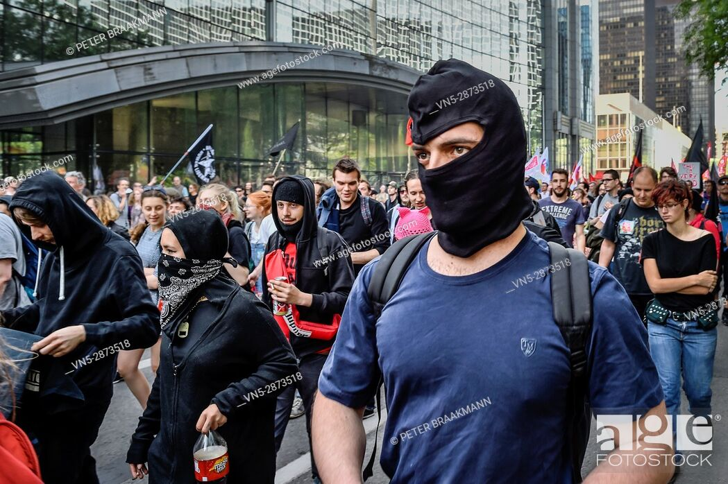 Stock Photo: Brussels - Belgium - 24-05-2017 - Protestmars Trump not welcome in Brussels.