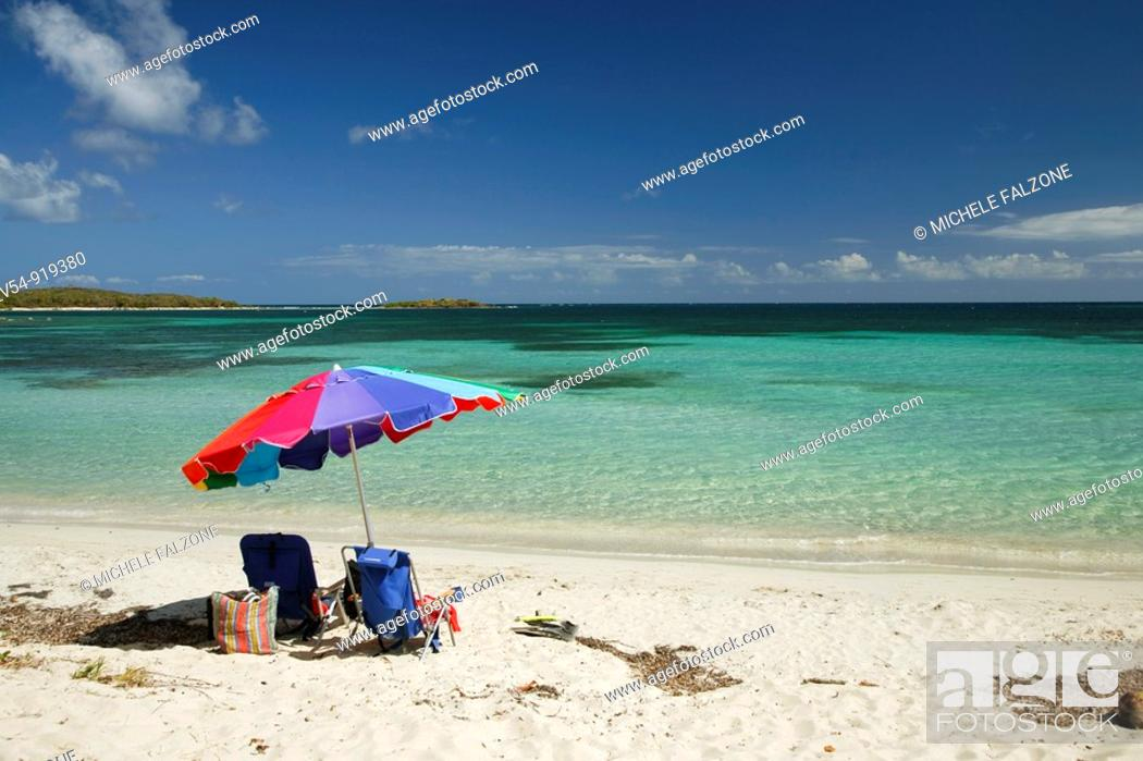 Stock Photo: Usa, Caribbean, Puerto Rico, Vieques Island, Red Beach.