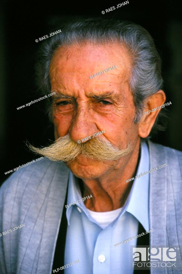 Stock Photo: Portrait of old Greek man with moustache, Greece.