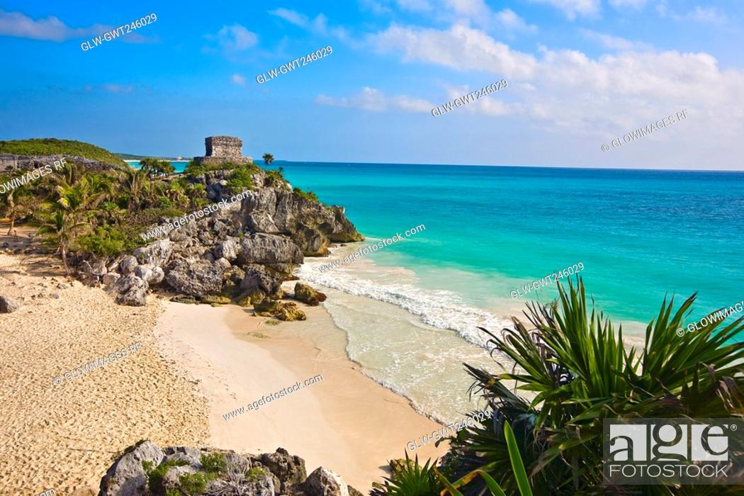 Stock Photo: Ruins of a temple at the seaside, Temple of the Wind God, Zona Arqueologica De Tulum, Cancun, Quintana Roo, Mexico.