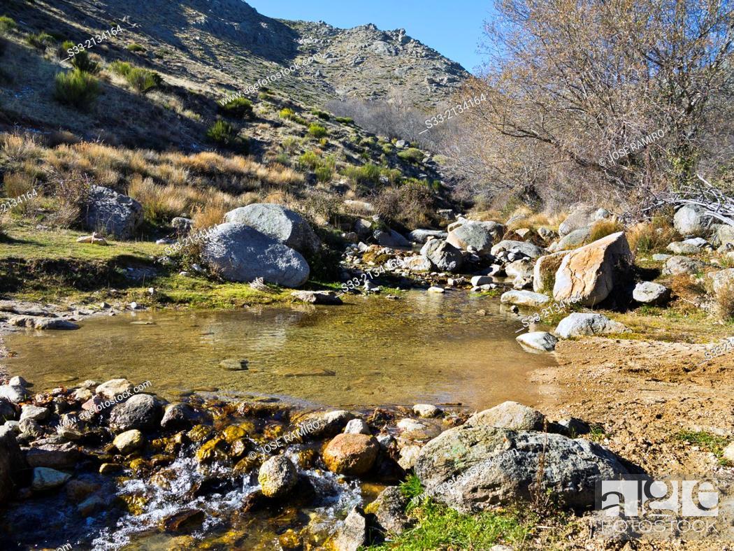 Stock Photo: Zapatero stream in the Sierra de la Paramera. Navandrinal. Avila. Castilla Leon. Spain.