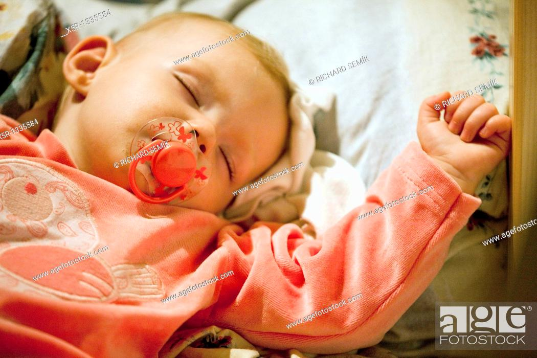 Stock Photo: portrait of sleeping toddler girl.