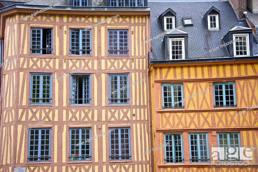 Stock Photo: half timbered norman facades, Rouen, 76, Normandy, france.