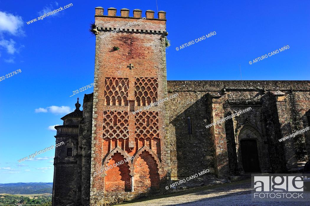 Stock Photo: Mudejar tower, Church of Nuestra Señora del Mayor Dolor, XVth century. Aracena, Huelva province, Spain.