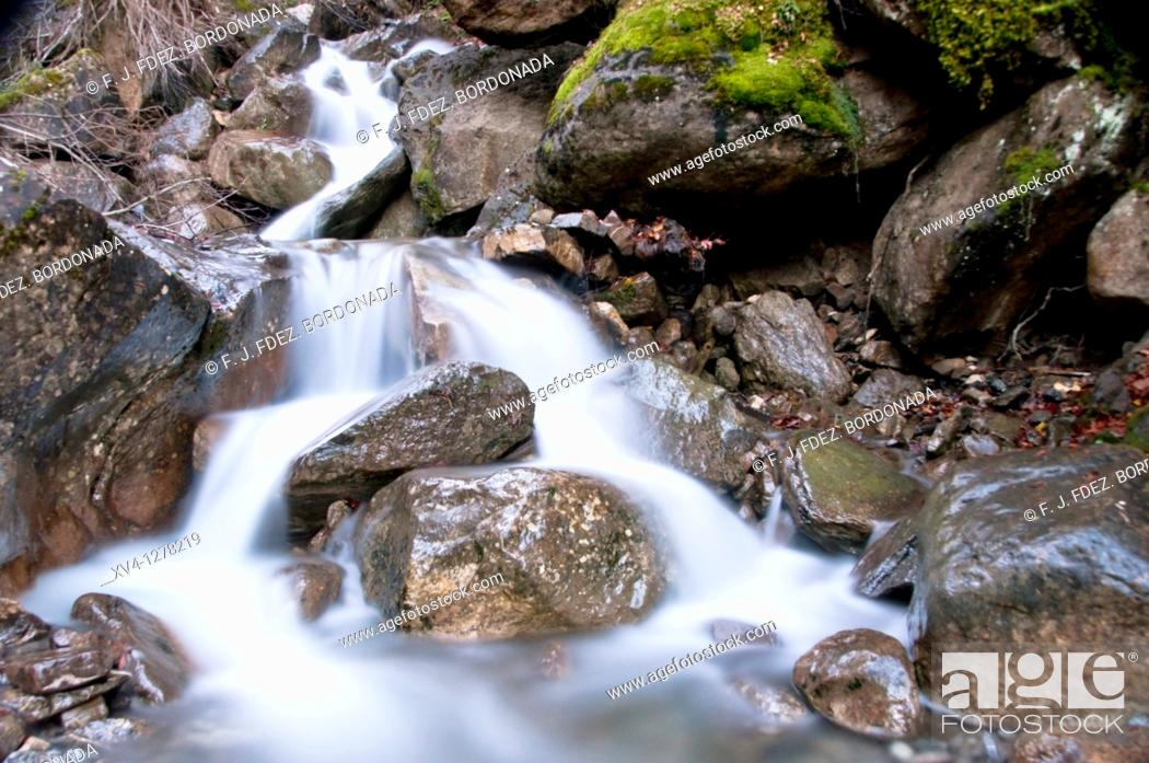 Stock Photo: Stream river in Aragues Valley, Huesca  Aragonesse Pyrenees  Spain.