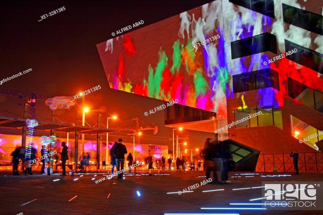 Stock Photo: DHUB building, Les Glories square, artistic installation, Llum Bcn 19 festival, Poblenou district, Barcelona, Catalonia, Spain.