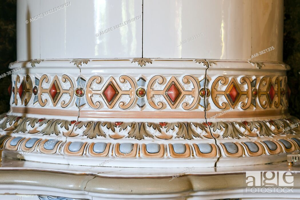 Stock Photo: Odensnäs. Turn of the century house with preserved interior in Ängelsberg. Completed 1896. Architect: Isak Gustaf Clason. Detail of tiled stove.