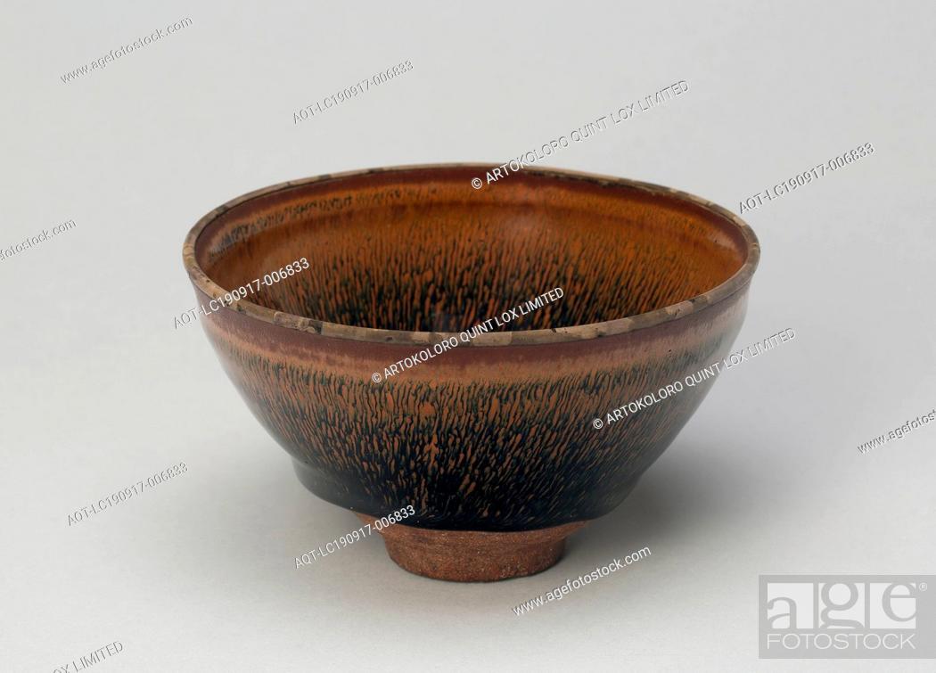 Stock Photo: Tea Bowl, Song dynasty (960–1279), 12th century, China, Fujian Province, China, Jian ware, dark-gray stoneware with dark-brown glaze and overglaze hare's fur.