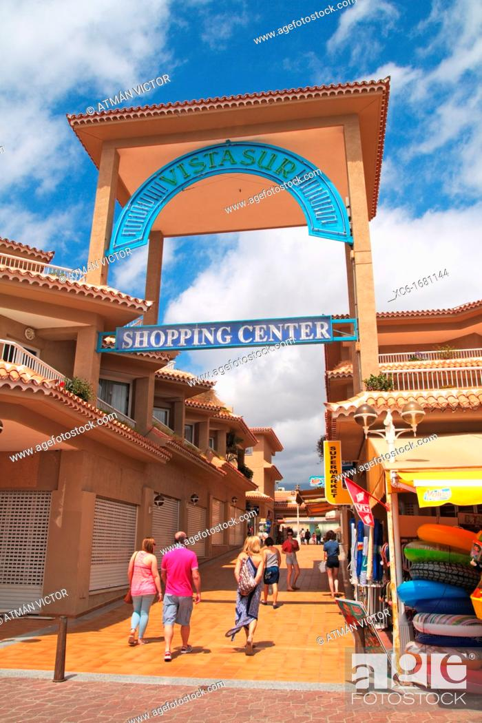 Stock Photo: Los Cristianos beach Tenerife. Shopping center arcade.