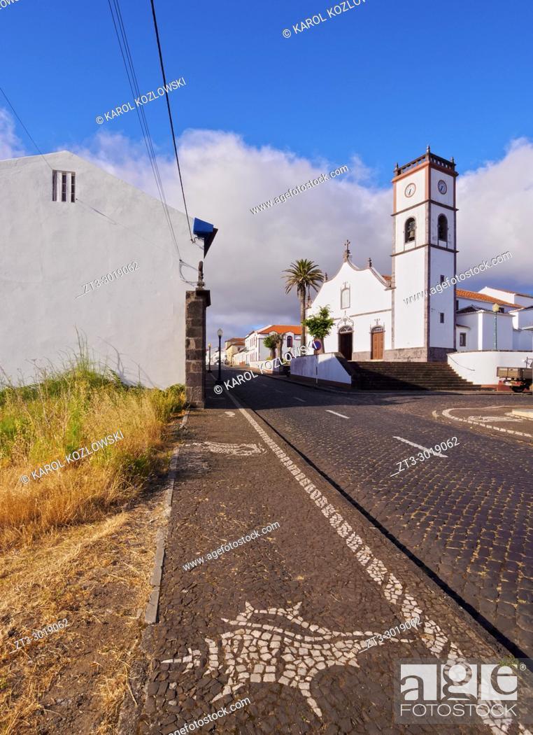 Stock Photo: Main Church, Vila do Porto, Santa Maria Island, Azores, Portugal.