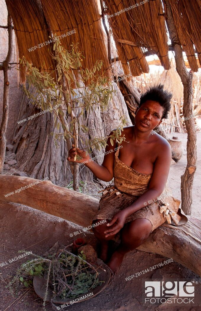 Imagen: Namibia Africa remote Damara Tribe in Damaraland woman working with leaves in native village.