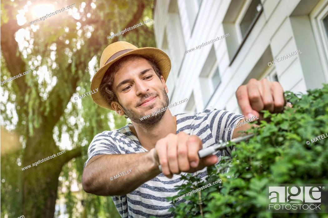 Stock Photo: Young man in garden pruning bush.