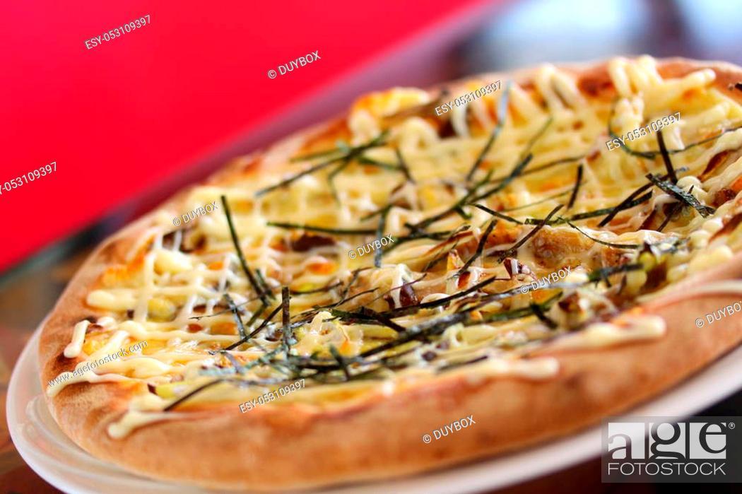 Stock Photo: Teriyaki Chikinpiza or Japanese chicken Pizza on white dish.