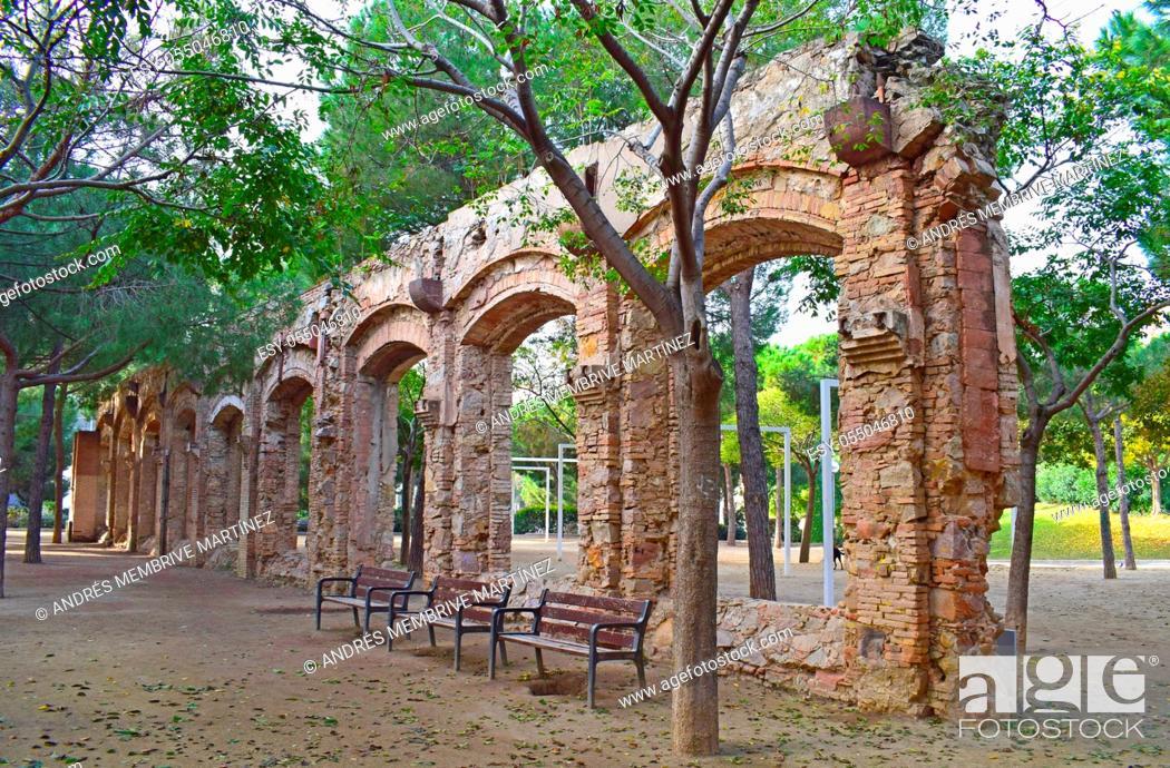 Stock Photo: Aqueduct in El Clot public park in Barcelona Spain. .