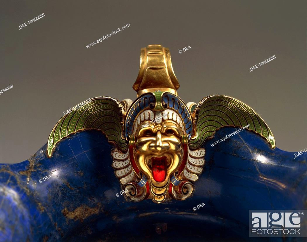 Stock Photo: Goldsmith's art, Italy, 16th century. Hans Domes (active 1563-1601), Lapis lazuli, chiselled and enamelled gold, 10x21x13 cm. Detail: enamelled mask.