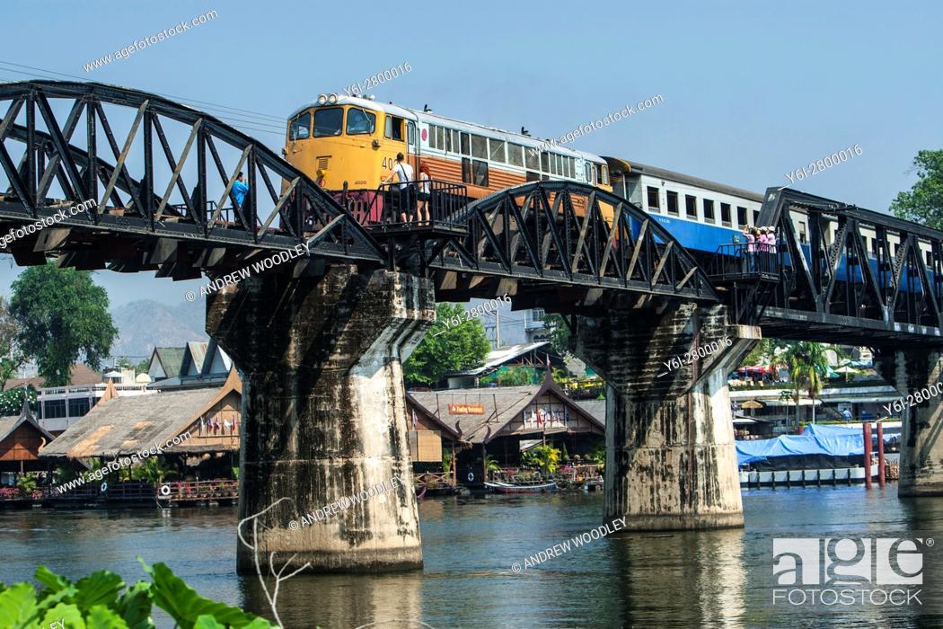 Stock Photo: Train Bridge on the River Kwai Kanchanaburi Thailand.