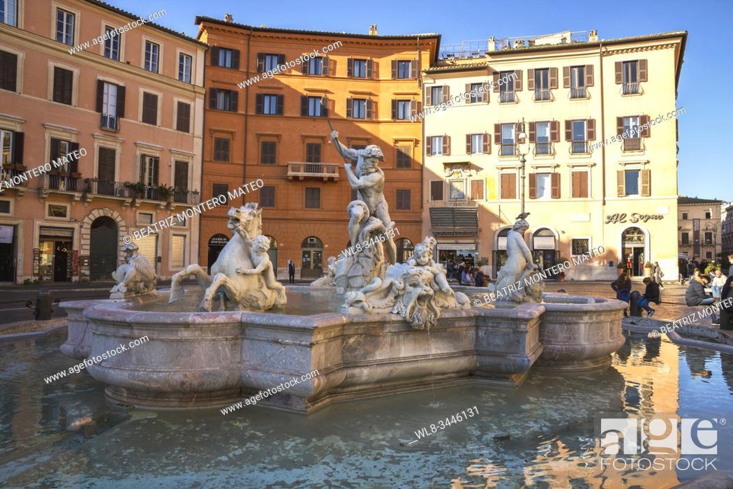Stock Photo: Neptune Fountain in Navona Square in Rome (Italy).