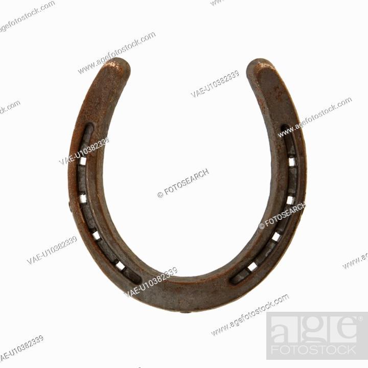 Stock Photo: Upside down horseshoe against white background.