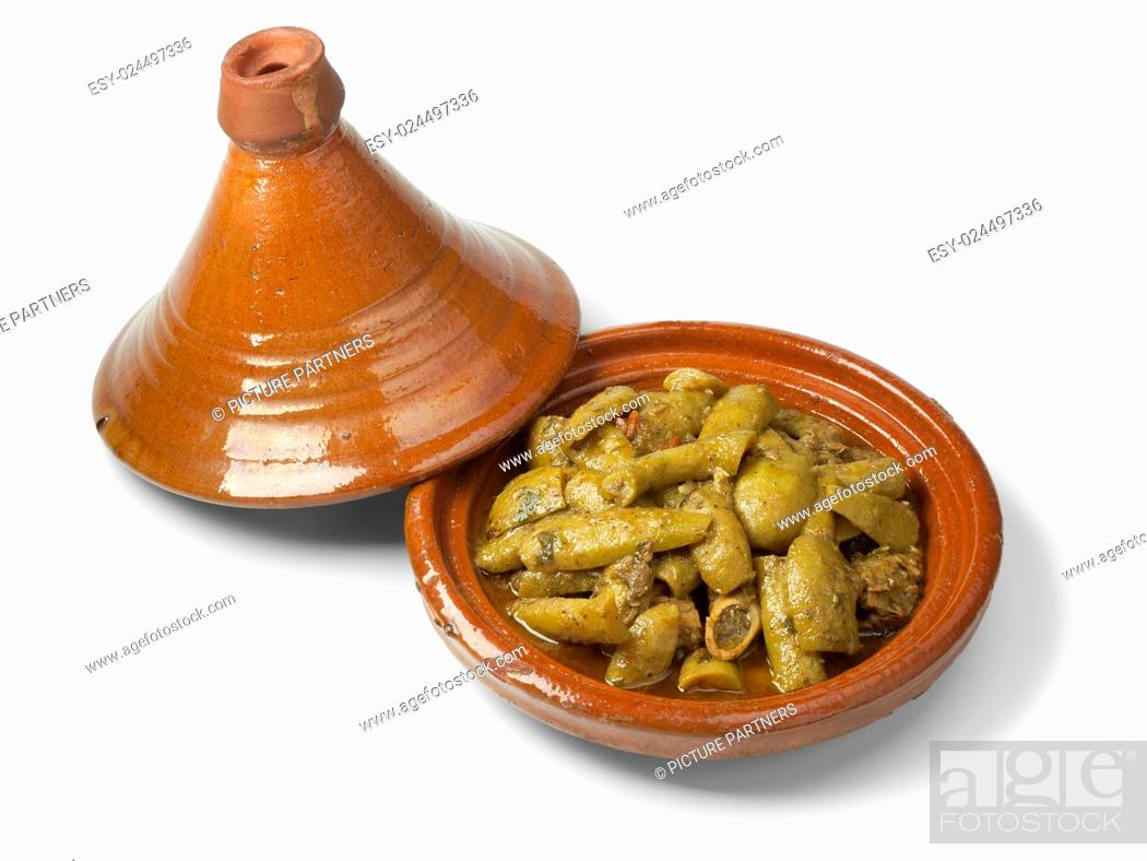 Photo de stock: Traditional Moroccan tagine with beef and bottle gourds.