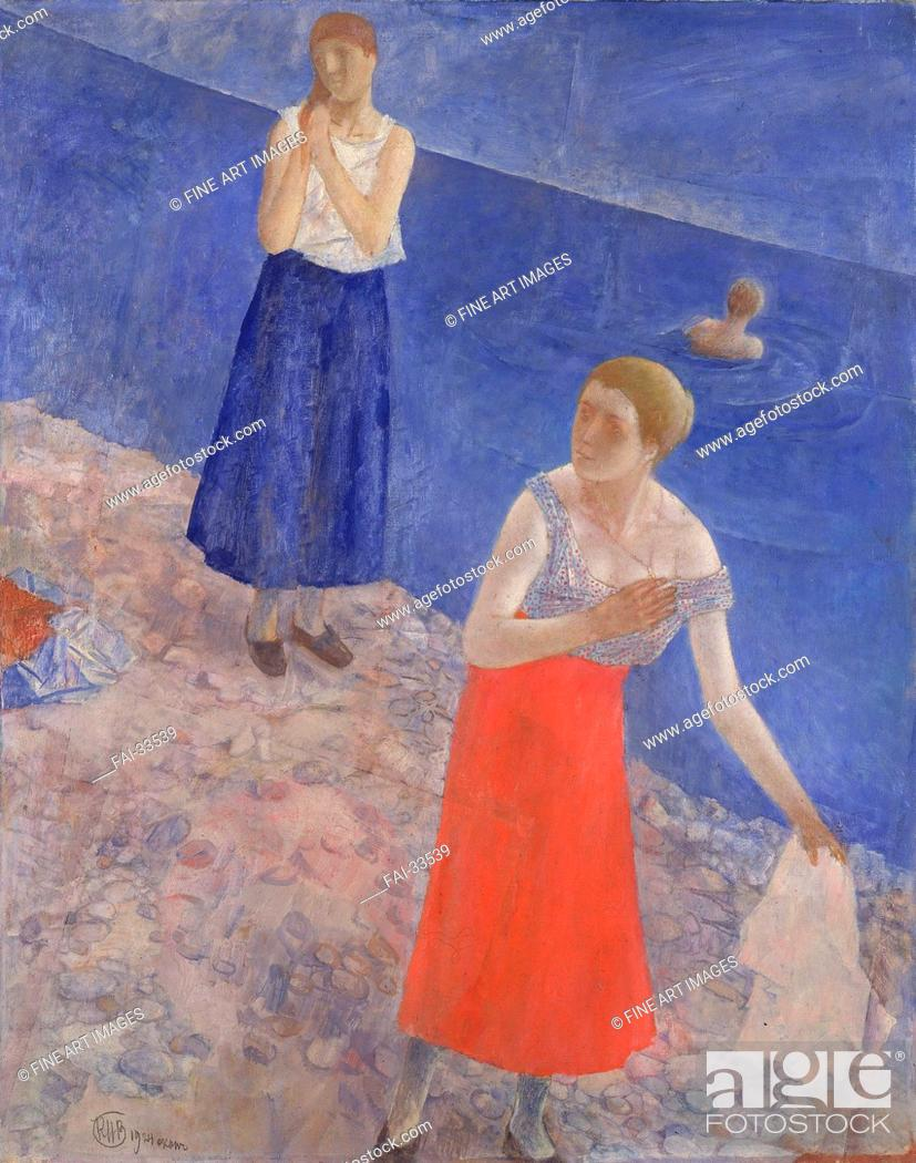 Stock Photo: Seashore by Petrov-Vodkin, Kuzma Sergeyevich (1878-1939)/Oil on canvas/Russian Painting, End of 19th - Early 20th cen./1924/Russia/State Hermitage, St.