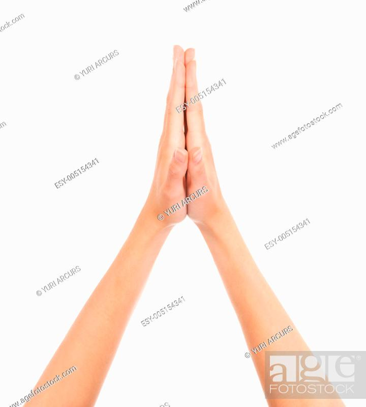 cropped view of two hand joined in a hi five gesture stock photo