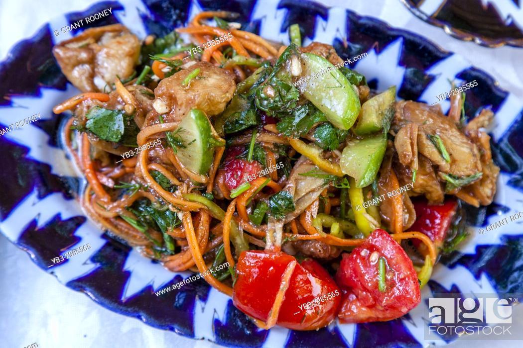 Stock Photo: Typical Uzbek Food, (Aubergine Salad) Bukhara, Uzbekistan.