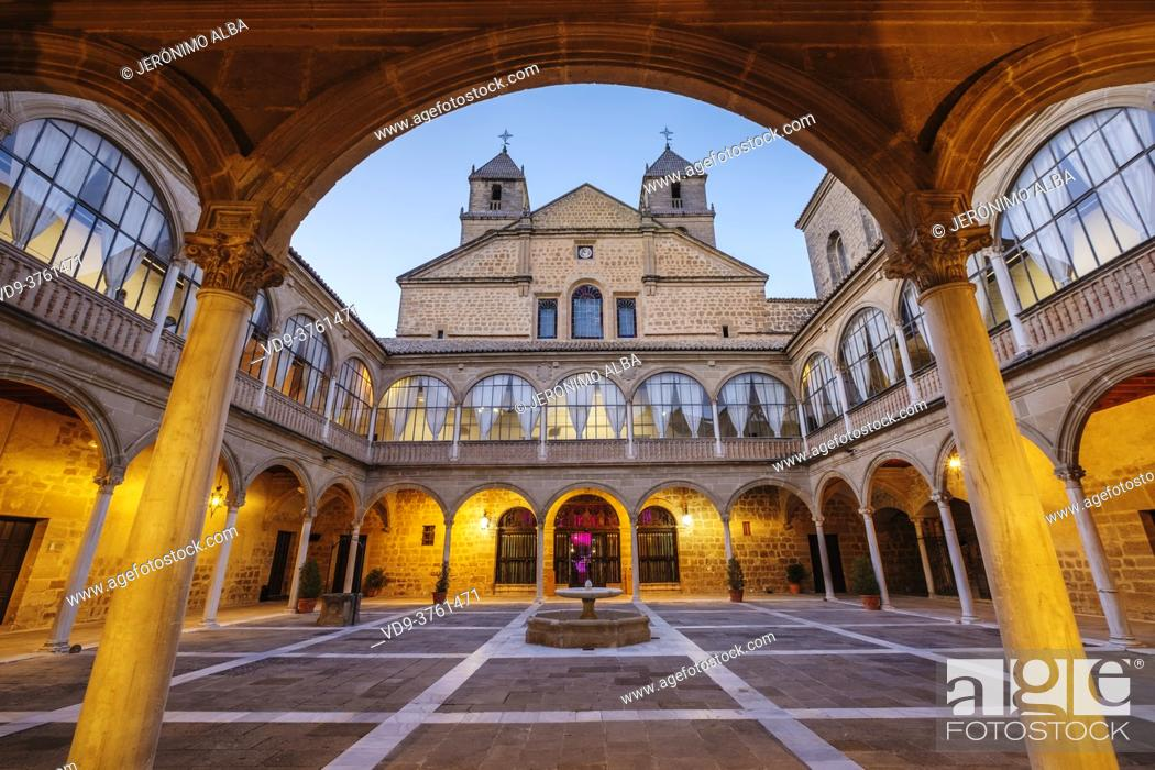 Stock Photo: Inner courtyard of Santiago Hospital by architect Andres de Vandelvira, Ubeda, UNESCO World Heritage Site. Jaen province, Andalusia, Southern Spain Europe.