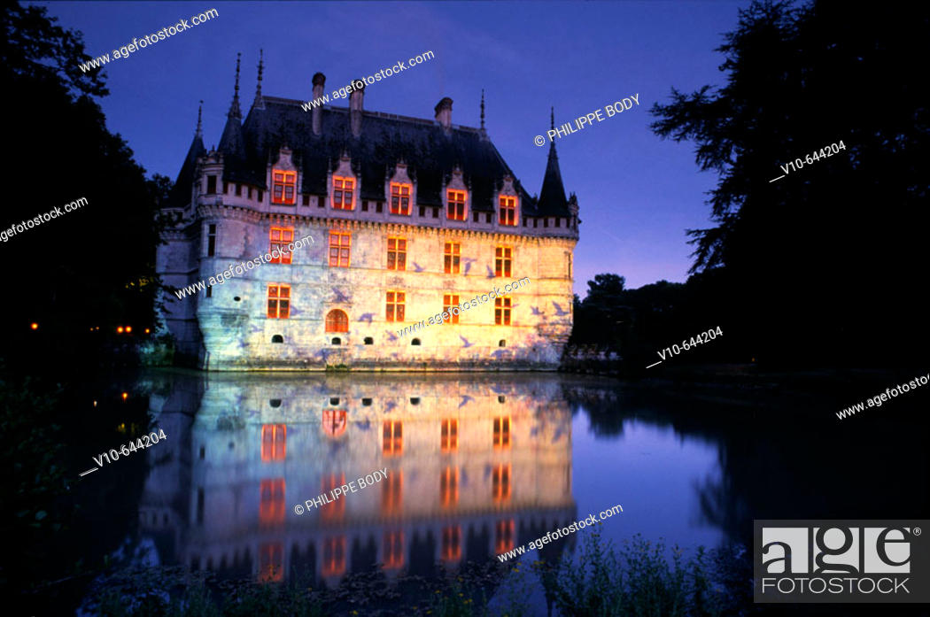 Stock Photo: Night show at the Castle of Azay-le-Rideau,built from 1518 to 1527 by Gilles Berthelot in Renaissance style, Indre et Loire, France.