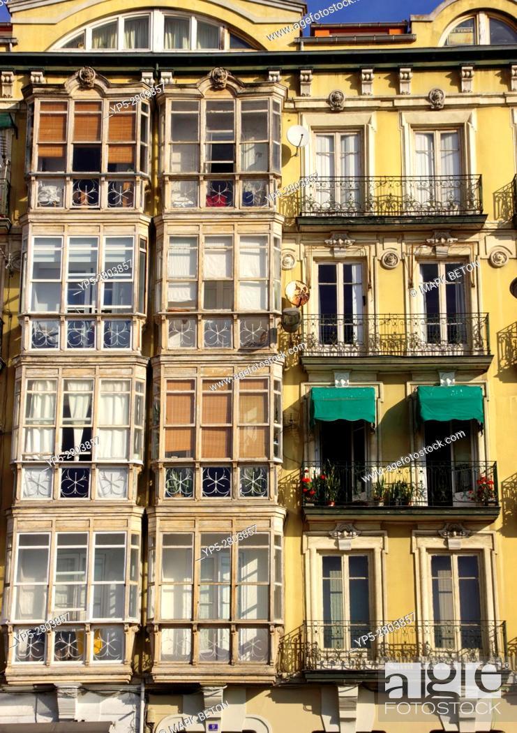 Stock Photo: Closeup balconies along Calle Calderón de la Barca Santander Spain.