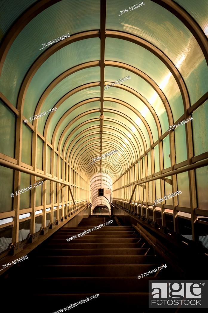 Stock Photo: Hallway with brigh light angle shot.