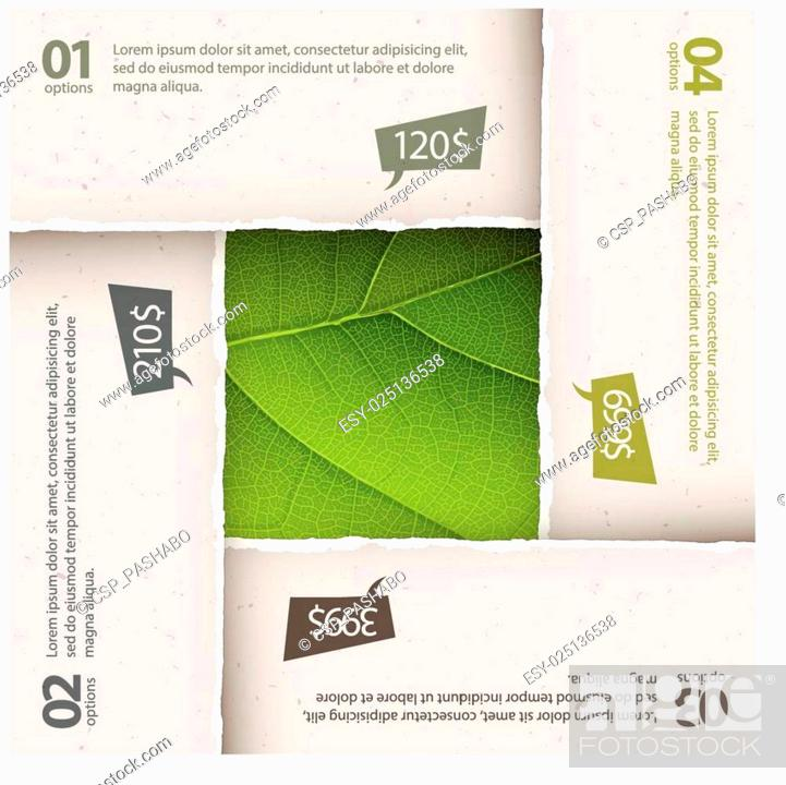 Stock Vector: Green leaf texture under torn paper plates. Options composition,.