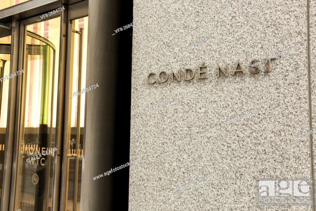 Stock Photo: The new signage of Conde Nast at One World Trade Center in downtown Mahattan. The Freedom Tower is the new home of the publishing empire.