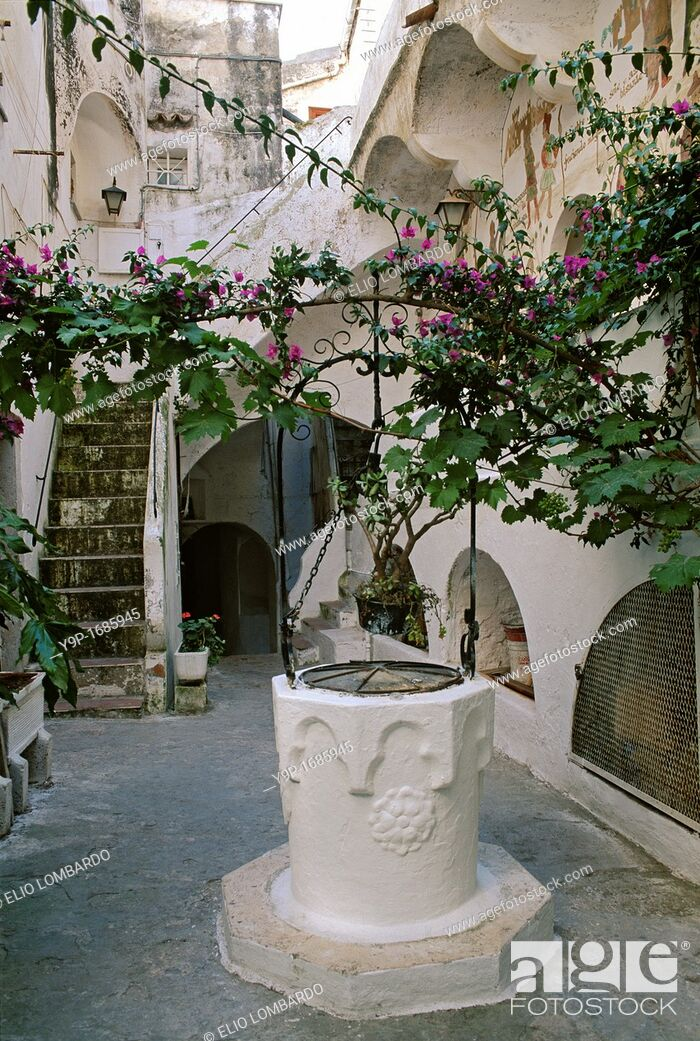 Stock Photo: Sperlonga, Latina, Latium, Italy  A characteristic courtyard with a well head.