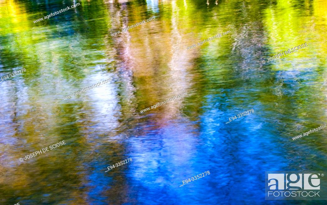 Stock Photo: Impressionistic shapes and colors and reflections on water.
