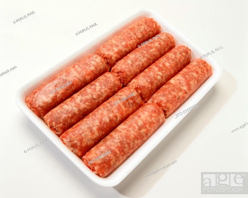 Stock Photo: Raw Pork Sausage Links in White Tray.