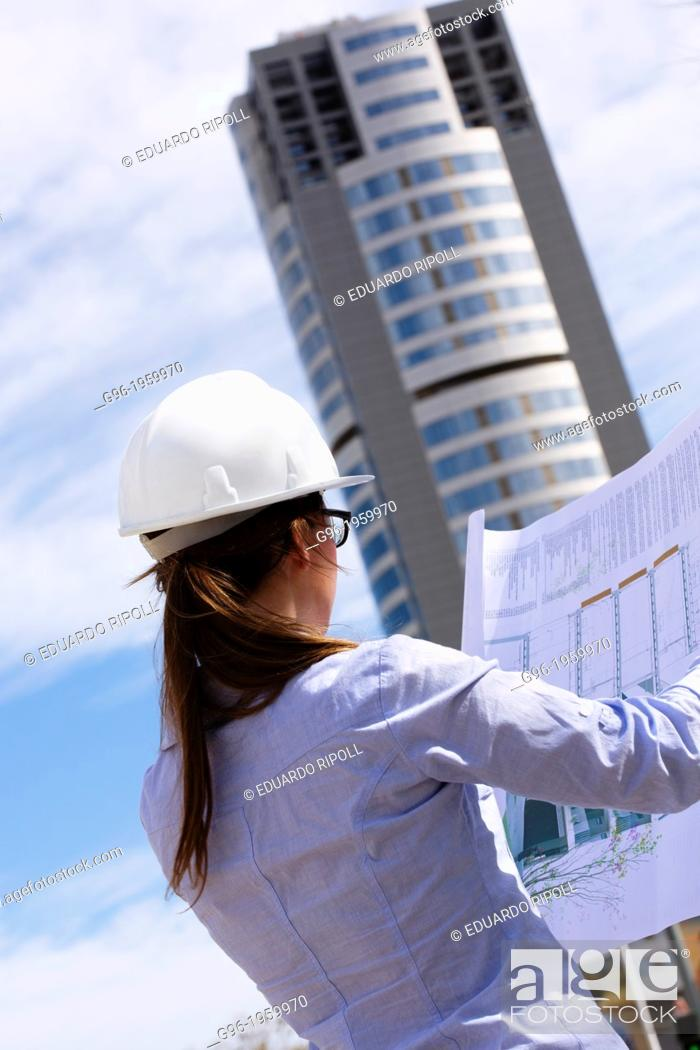 Stock Photo: woman architect.