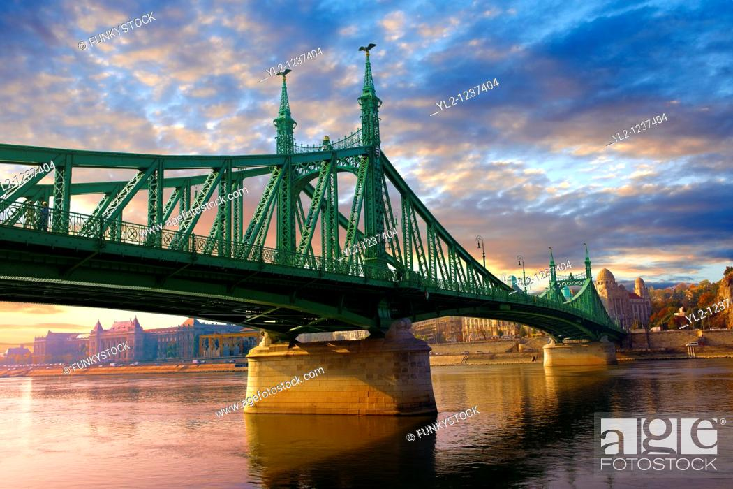 Stock Photo: Liberty or Freedom Bridge Szabadság híd, looking towards the Hotel Gellert  Budapest, Hungary.