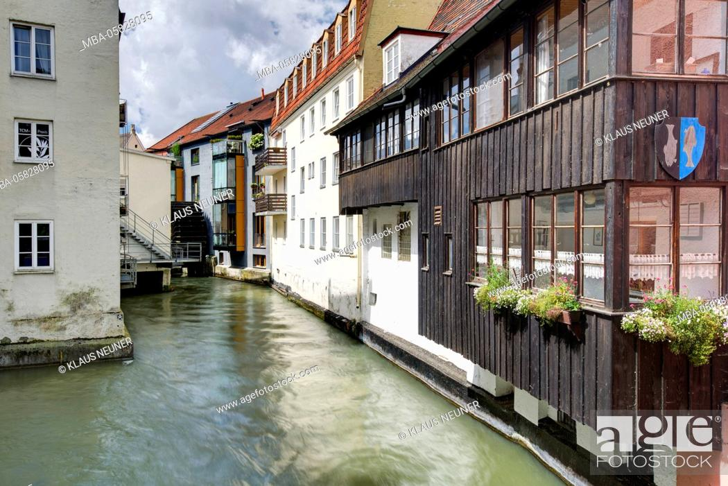 Stock Photo: Architecture in the local brook, Landsberg in Lech, Bavarians, Germany,.