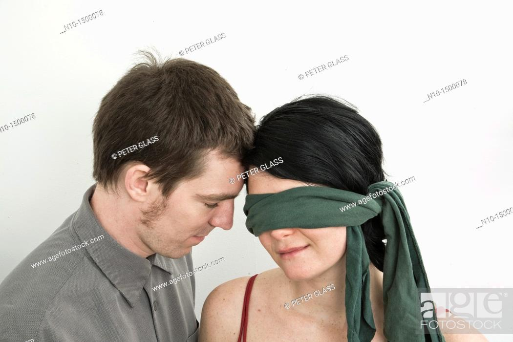 Husband And His Blindfolded Wife Stock Photo Picture And Rights