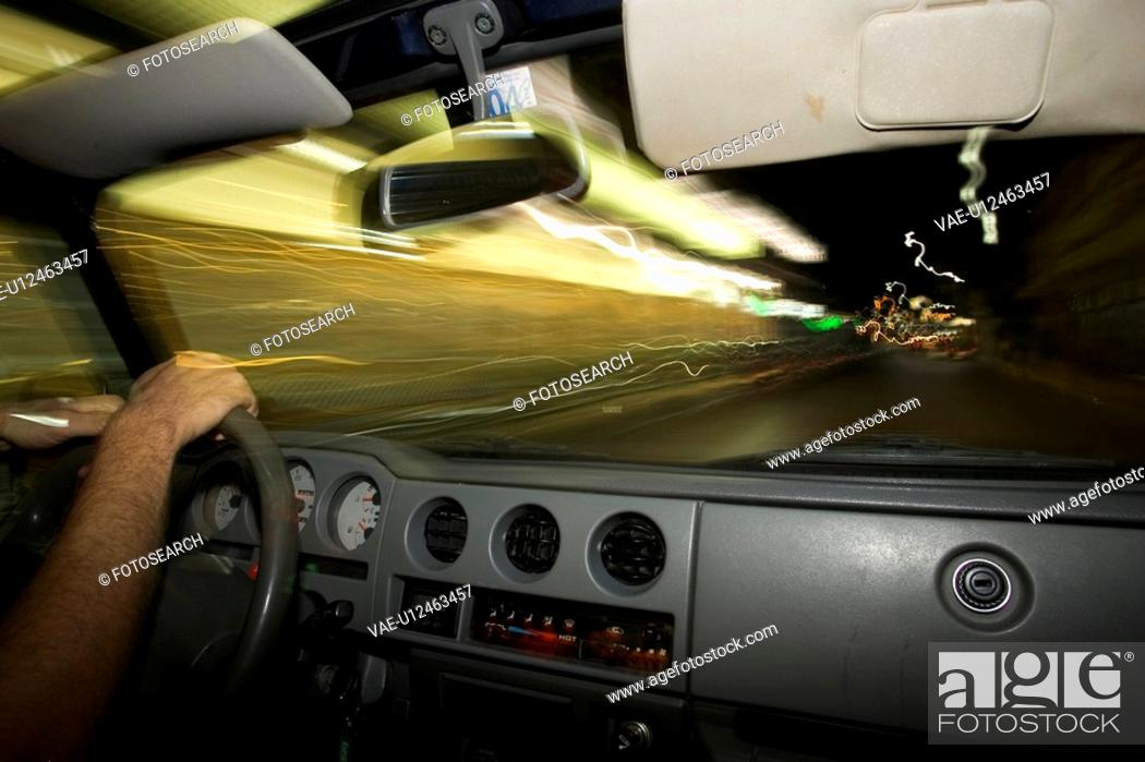 Stock Photo: Close-Up, Dashboard, Driving, Focus On Foreground, Holding.