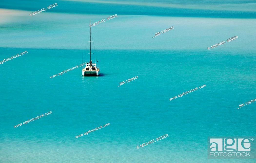 Catamaran, sailboat, sea off Whitehaven Beach, Whitsunday