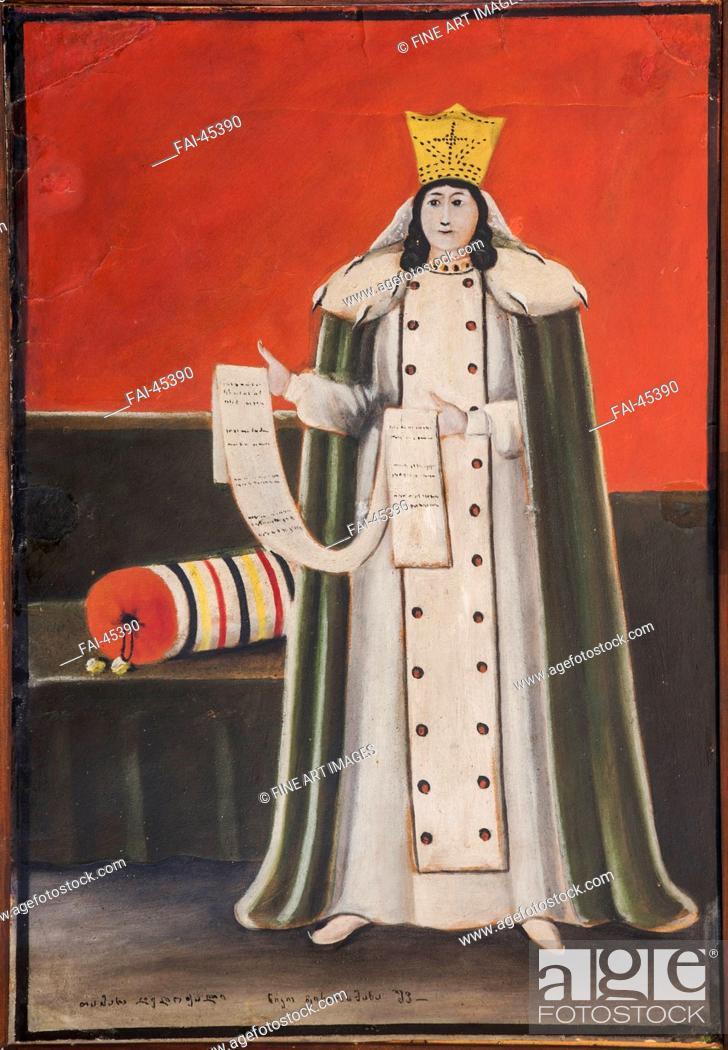 Stock Photo: Queen Tamar by Pirosmani, Niko (1862-1918)/Oil on cardboard/Primitivism/1913-1914/Georgia/Niko Pirosmanashvili Museum, Mirzaani/90x70/Portrait/Painting/Königin.