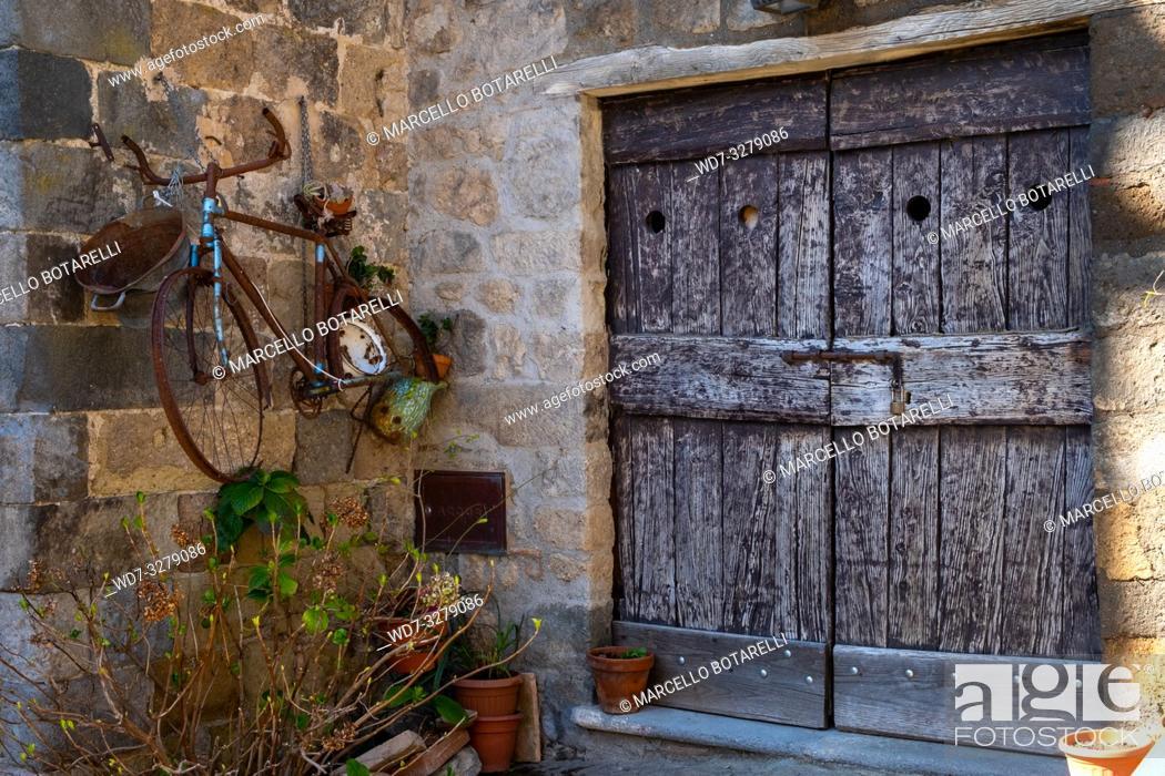 Stock Photo: Ancient door in Bolsena, near Bolsena lake, Lazio, Italy.