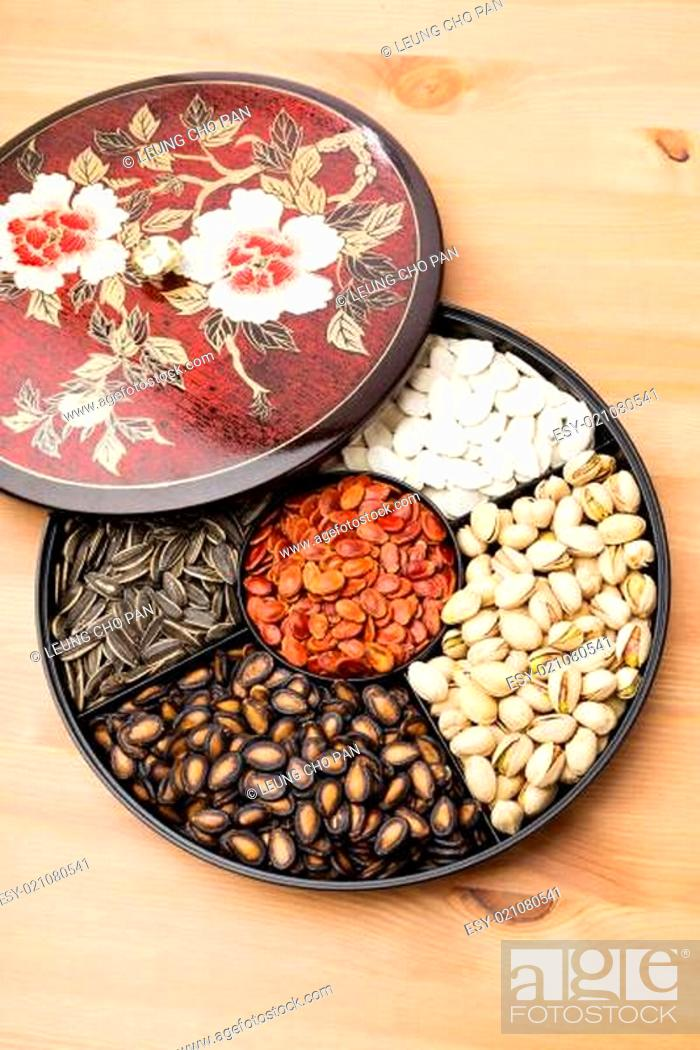 Stock Photo: Lunar New Year snack tray.
