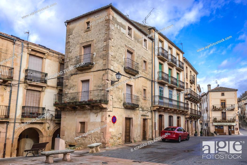 Stock Photo: Main suare of Sepulveda town in Province of Segovia, Castile and Leon autonomous community in Spain.